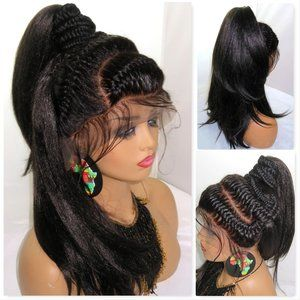 "braided lace closure wig 13"" by 6"" frontal, black"